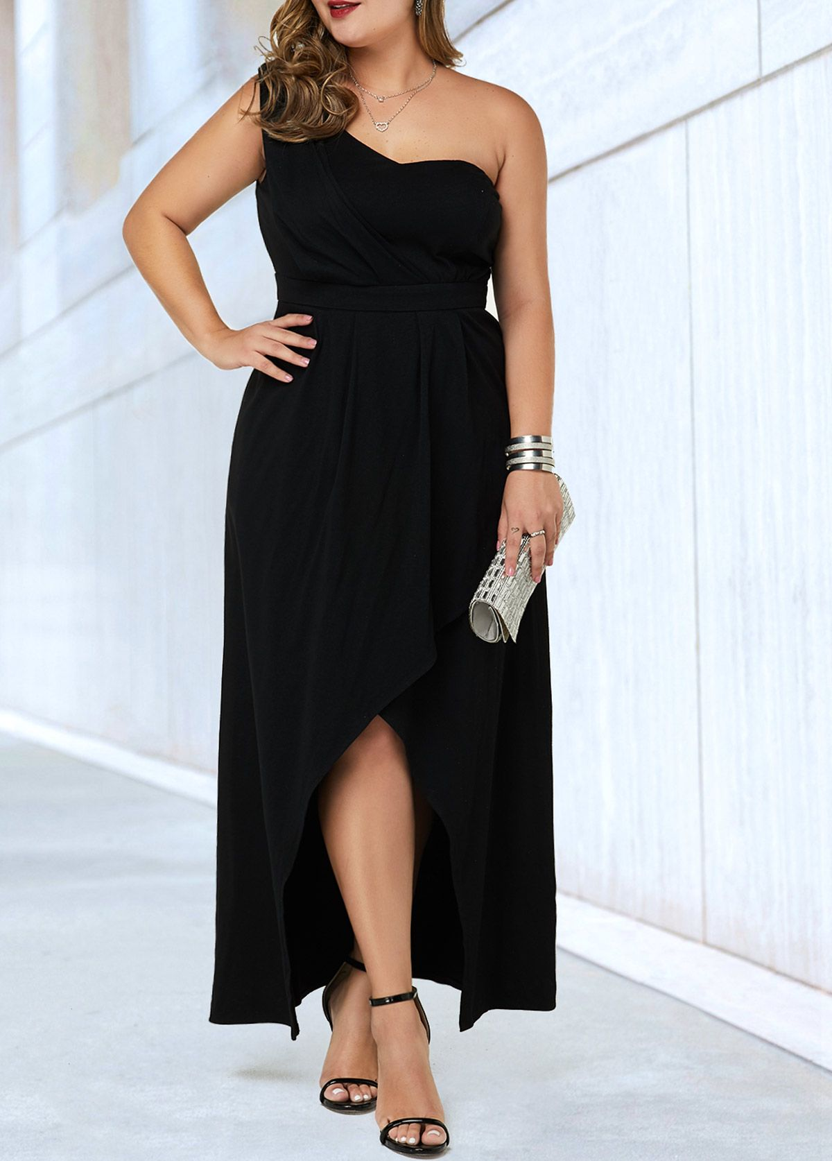 Plus Size One Shoulder Black Dress  Rosewe.com - USD $10.10  Kleider
