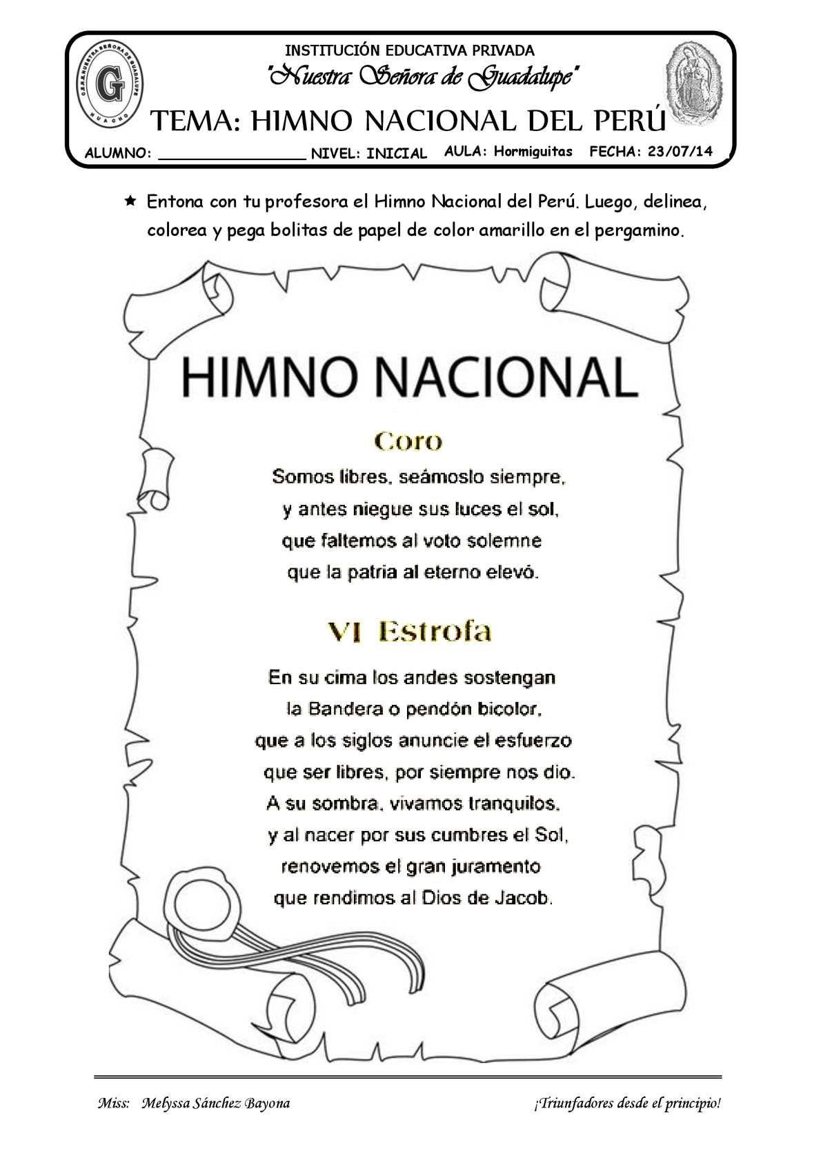 TEMA: EL HIMNO NACIONAL | novedades | Pinterest