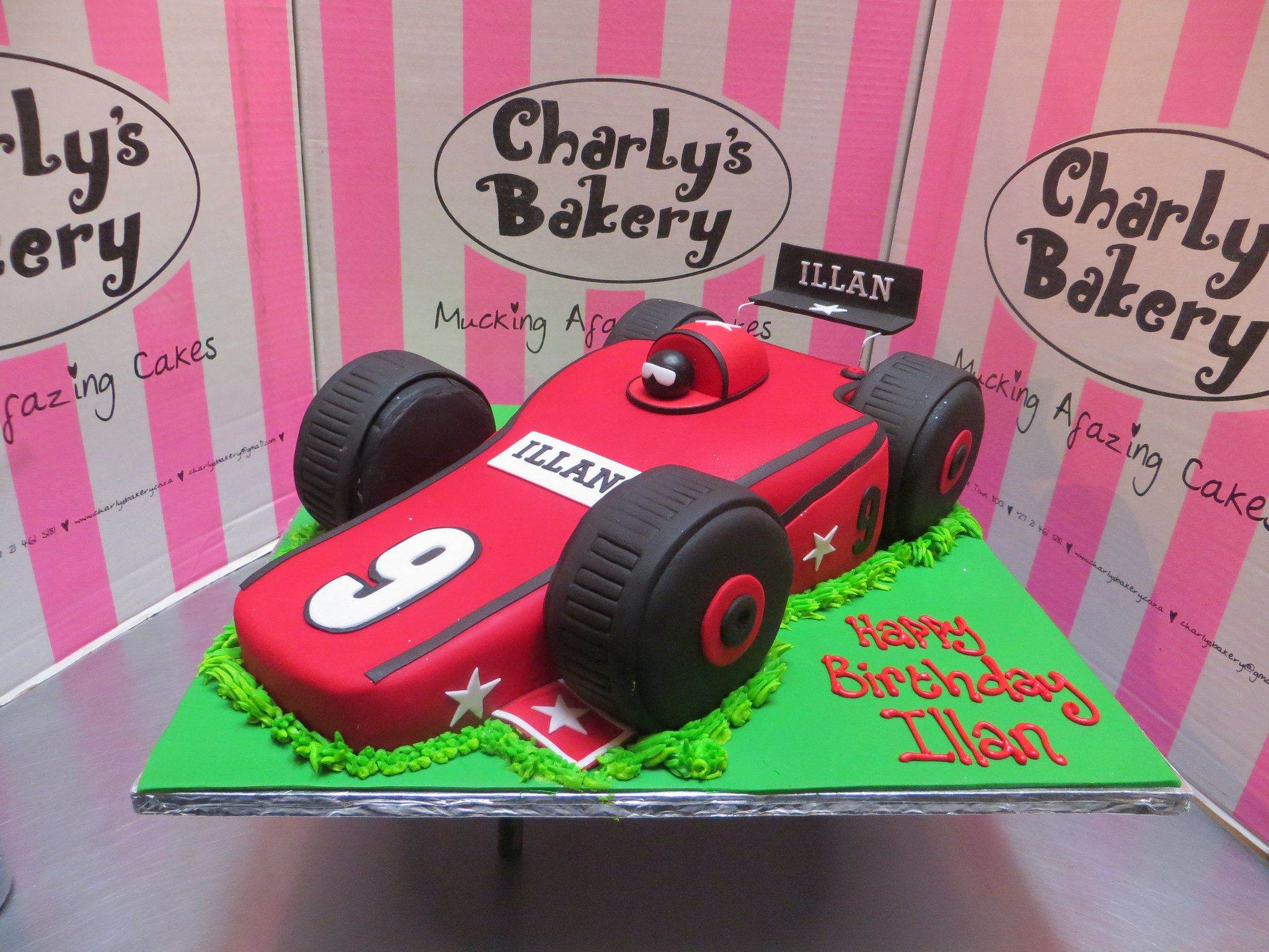 3D kiddy style F1 racing car covered in