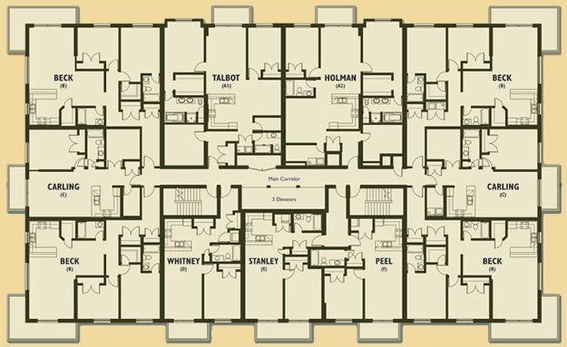Apartment building floor plans apartment building floor for Apartment block floor plans