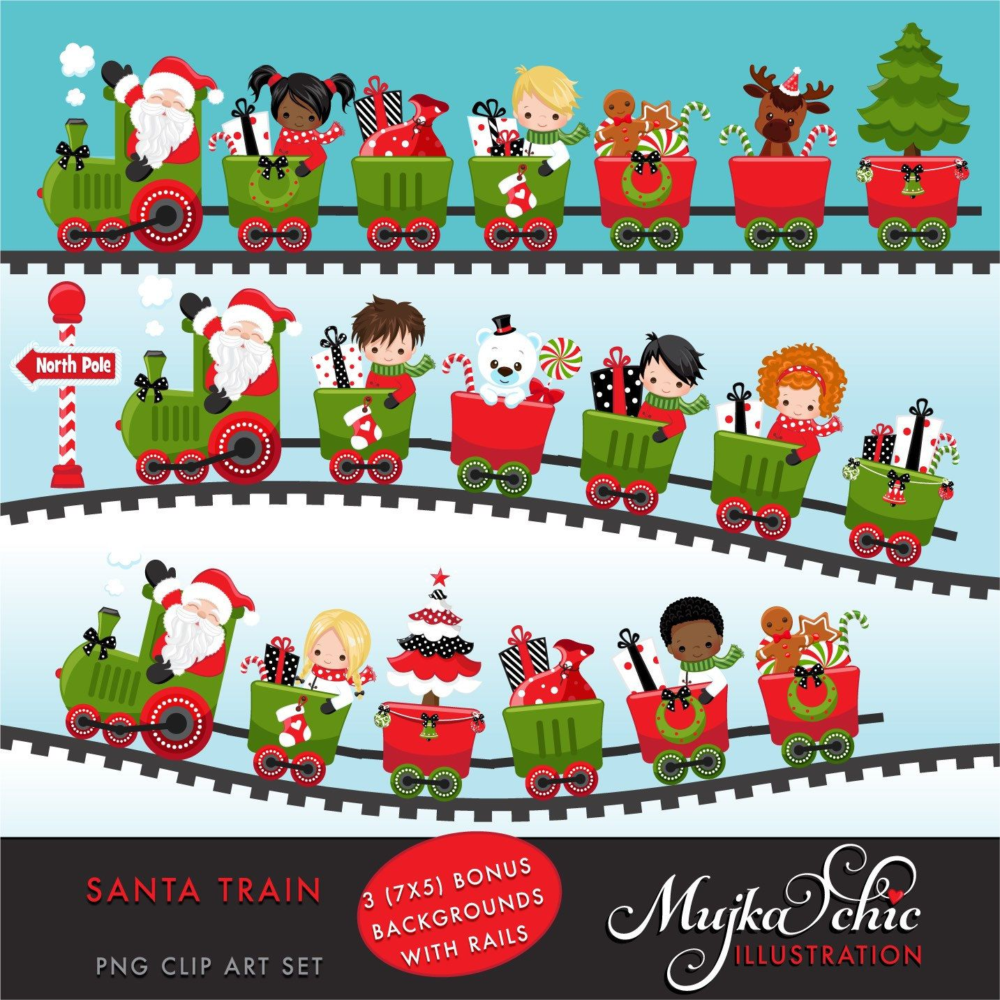 supercute santa train clipart set for all your personal and commercial projects boy girl versions include different graphics  [ 1433 x 1433 Pixel ]
