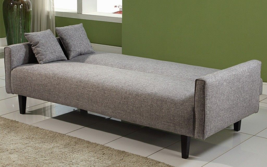 Powerful Grey Fabric Cheap Sofa Beds Design Completed With Small Cushions  For Modern Minimalist Living Room