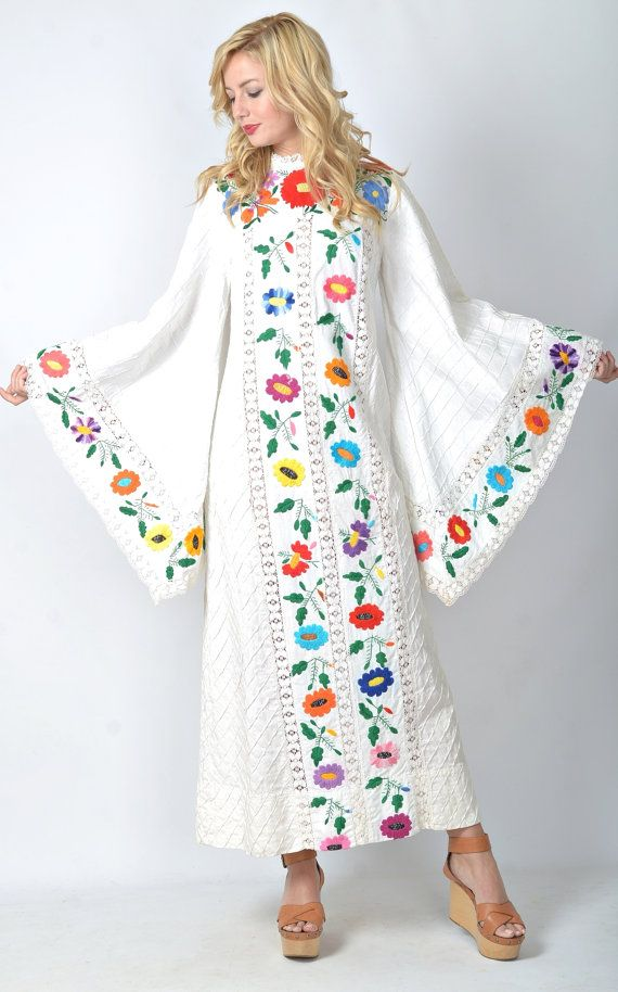 Vintage 70s Mexican Embroidered Hippie Wedding Dress Angel Slv Lace Maxi S M 1028