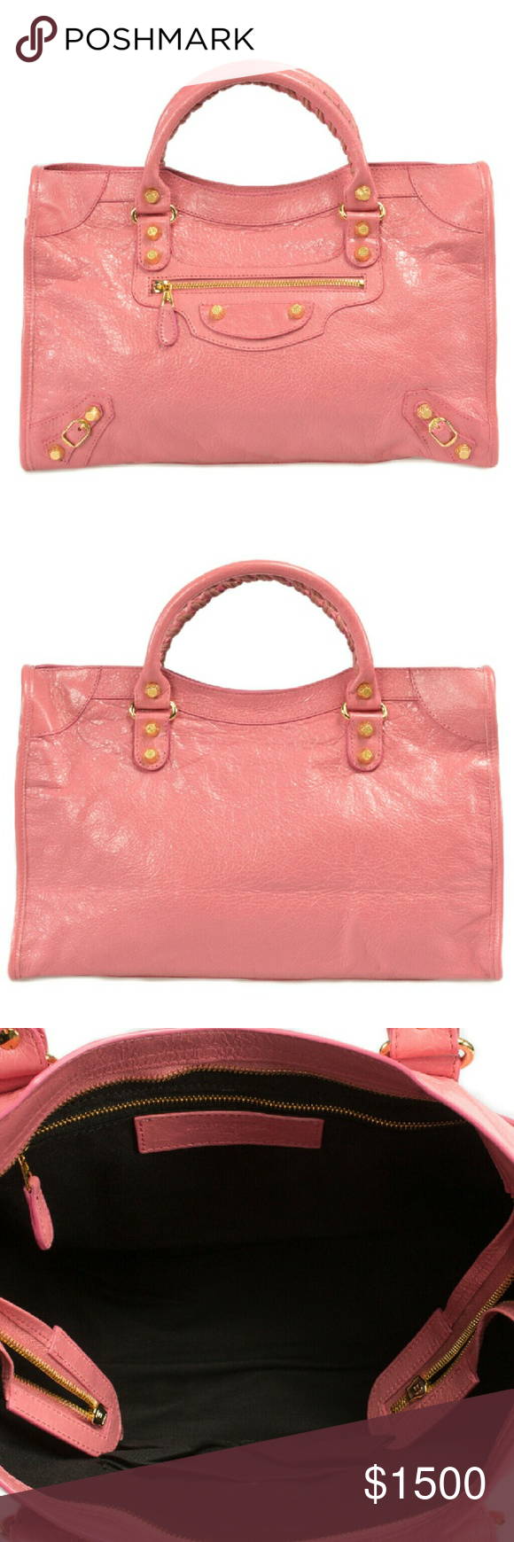 Balenciaga Giant 12 Gold City Leather Bag | Jaipur Superbly crafted in Italy from soft and supple lambskin  you can now step into the lap of luxury with this rose jaipur Balenciaga Giant 12 Gold City Bag  which is ideal when you require a tote which is easy to carry and has ample room for your personal belongings. This bag features one exterior and one interior zippered pocket  two smaller interior pouches and a top zipper closure for the main compartment  which is lined with black fabric…