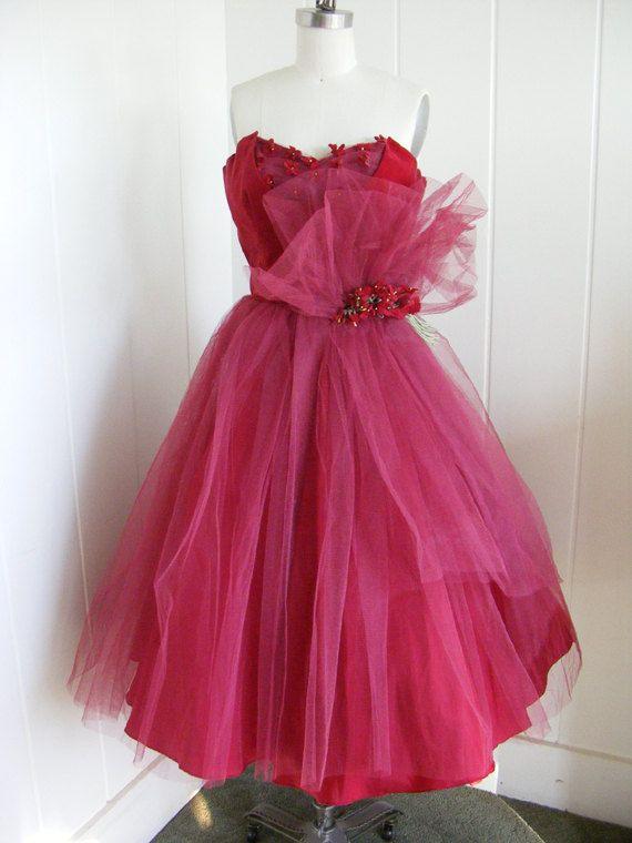1950's  vintage tulle & velvet evening gown