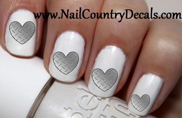 50 pc Sliver Diamond Plate Heart Nail Decals Nail Art Nail Stickers Best Price NC452