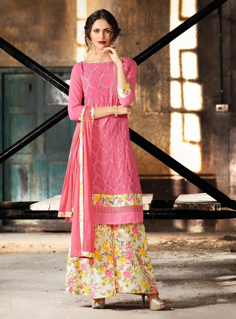 Pink Georgette Kameez With Palazzo Pant 80794 | isstyle | Pinterest