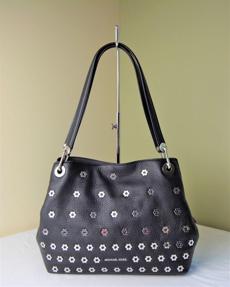 6414637c9181 Michael Kors Black Pebble Leather Silver Floral Raven Large Shoulder Tote # purses #fashion