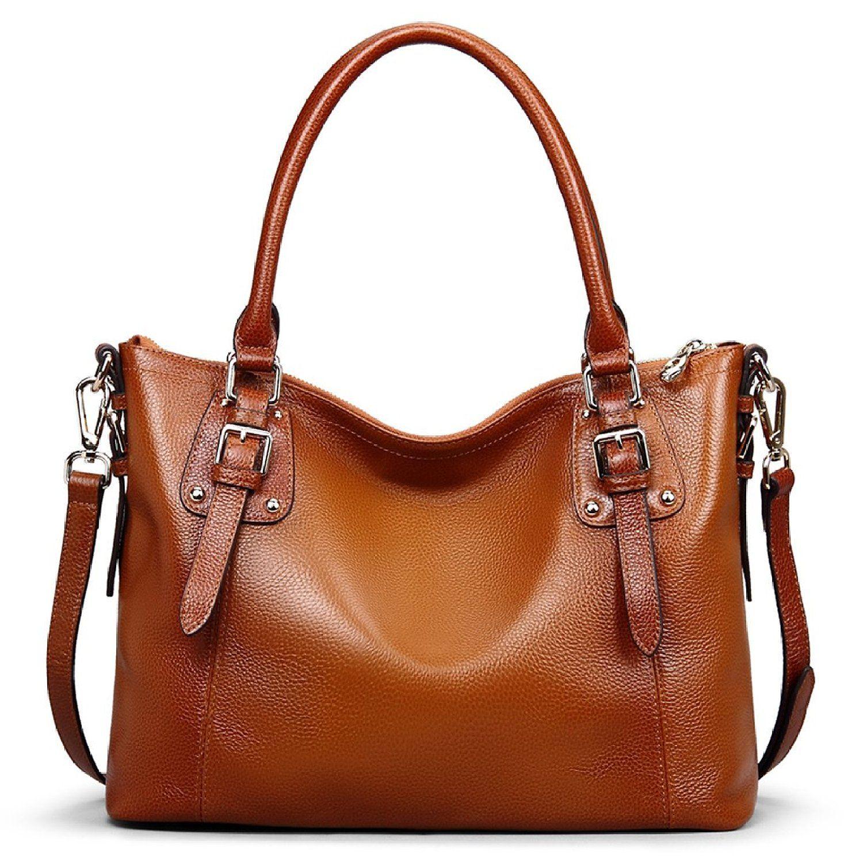 a468d1e7835b AINIMOER Women s Large Genuine Leather Vintage Shoulder Handbags Ladies  Top-handle Purse Cross Body Bag(Sorrel)  Handbags  Amazon.com