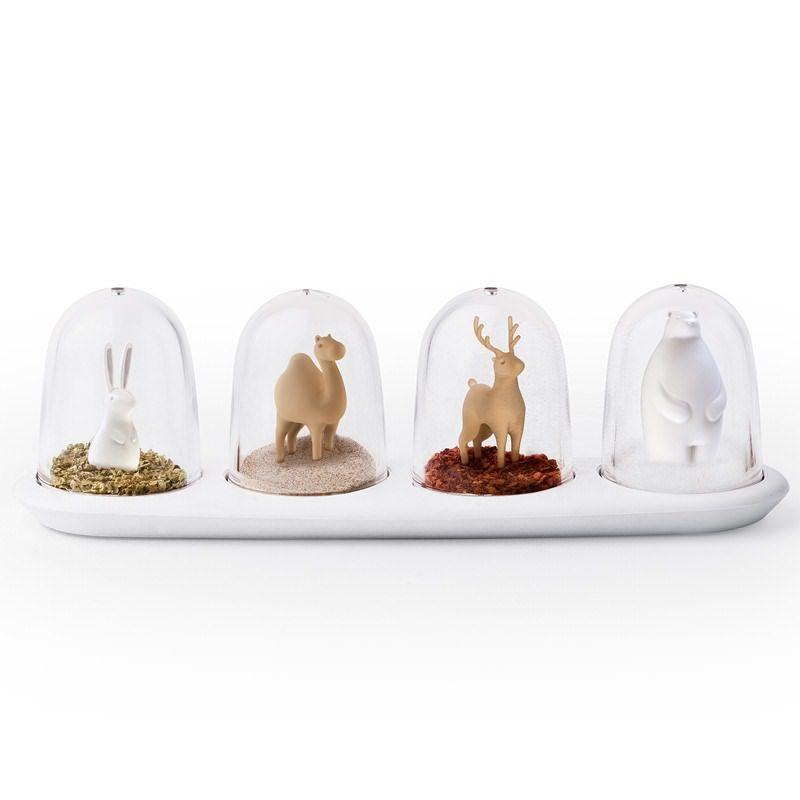 Gewürzmenage / Gewürzstreuer Spice Shaker Animal Parade 4er Set - Qualy Design #spice #salt #pepper #shakers