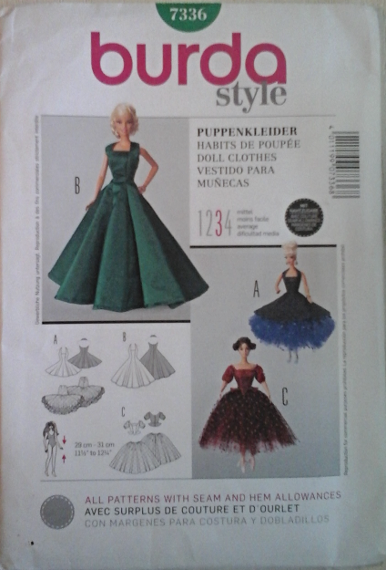 Burda 7336 Formals & Evening Gowns for 11-1/2 inch dolls such as ...