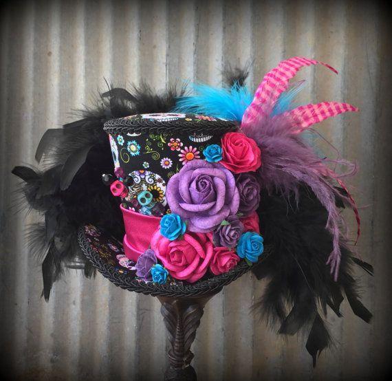 de Muertos Day of the Dead Sugar Skull Black Top Hat feather flower Decor D