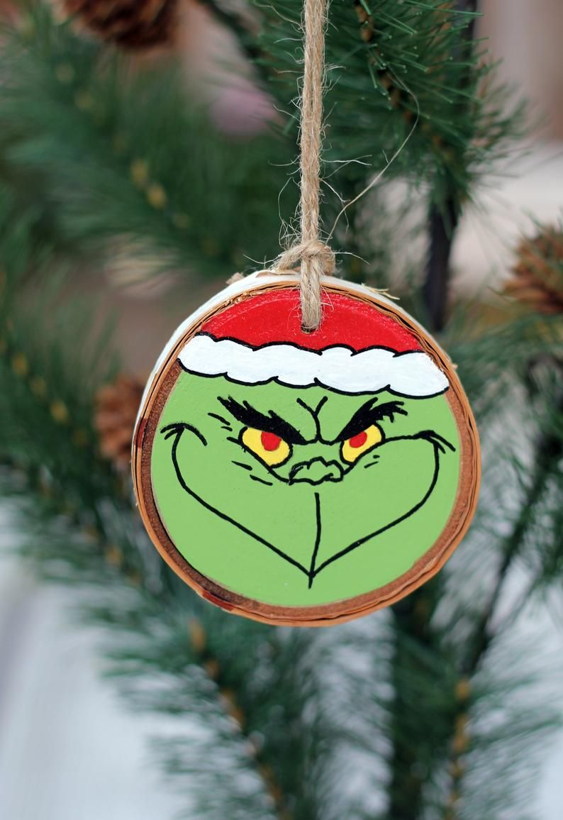 Grinch Ornament Wood Slice Ornament Wooden Christmas Etsy In 2021 Wood Slice Ornament Wooden Christmas Ornaments Grinch Ornaments