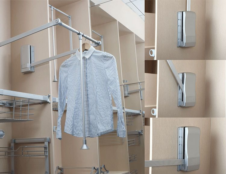 Chrome Plated Pull Down Wardrobe Rail Closet Accessories