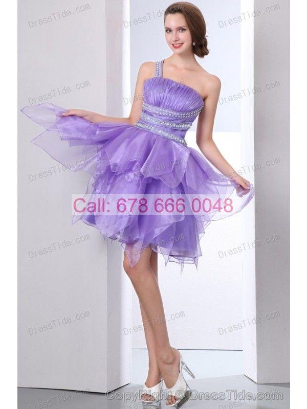Beading Short One Shoulder Lavender Back Cut Prom Formal Dress ...