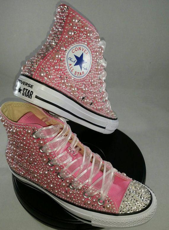 Wedding Converse- Bridal Sneakers- Bling   Pearls Custom Converse ... 00725530f