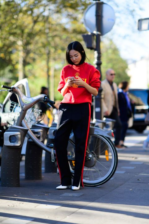 A surefire way to elevate track pants is to style them with heels.
