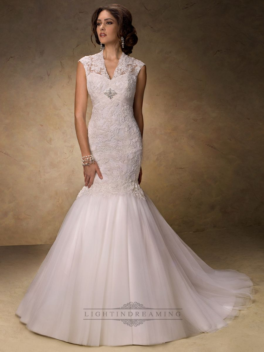 Fit and flare vneck lace wedding dress with illusion sleeves best