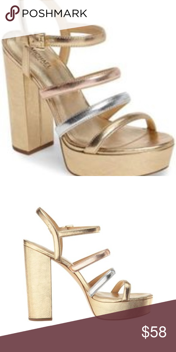 ed8a6bcf4a9 Michael Kors Nantucket Platform Sandal in Gold si The Nantucket is the  perfect tricolored metallic platform! Wear these beauties for a fun night  out or a ...