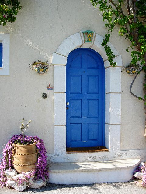 Blue door in Kefalonia