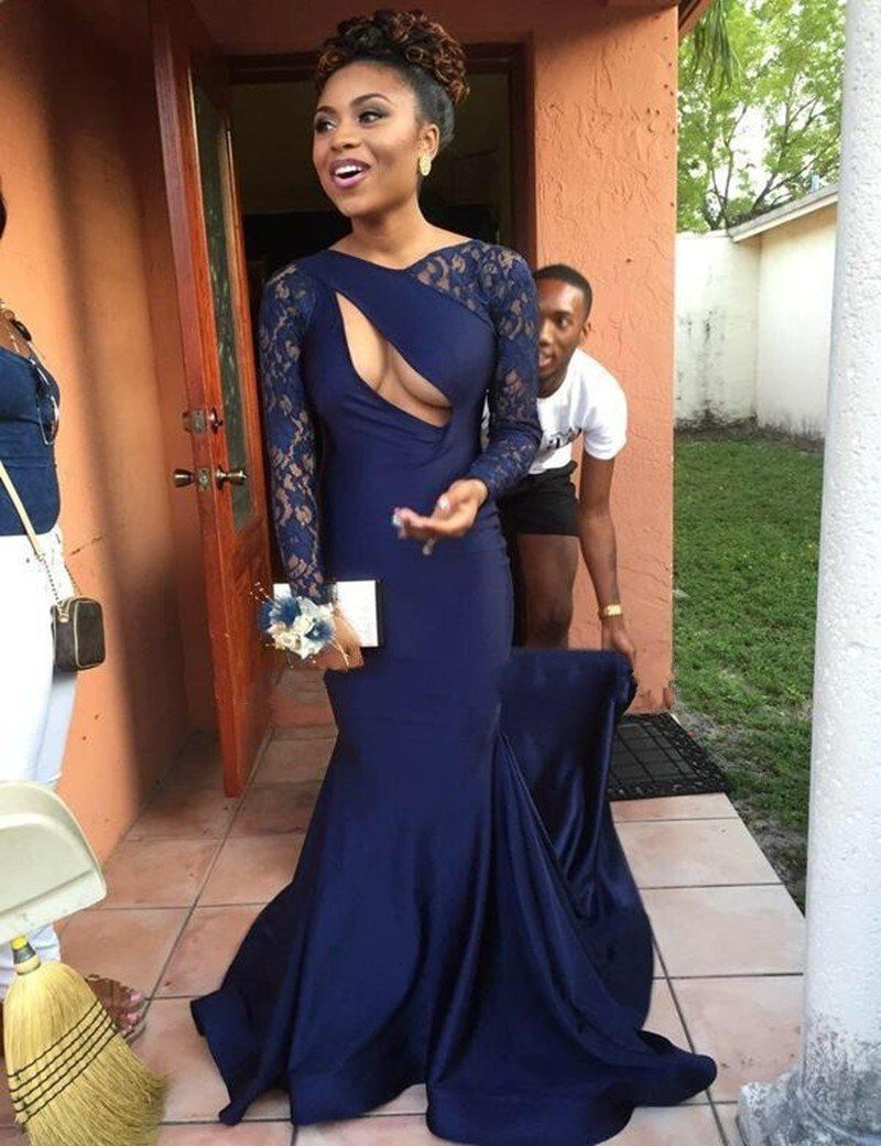 trendy navy blue mermaid dress sexy backless long elegant prom