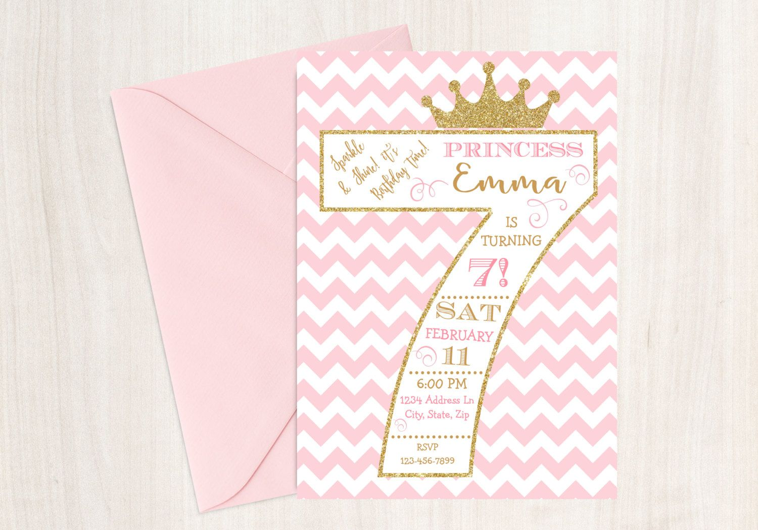 Princess Birthday Invitation 7th Pink And Gold Party By PixiPrintables