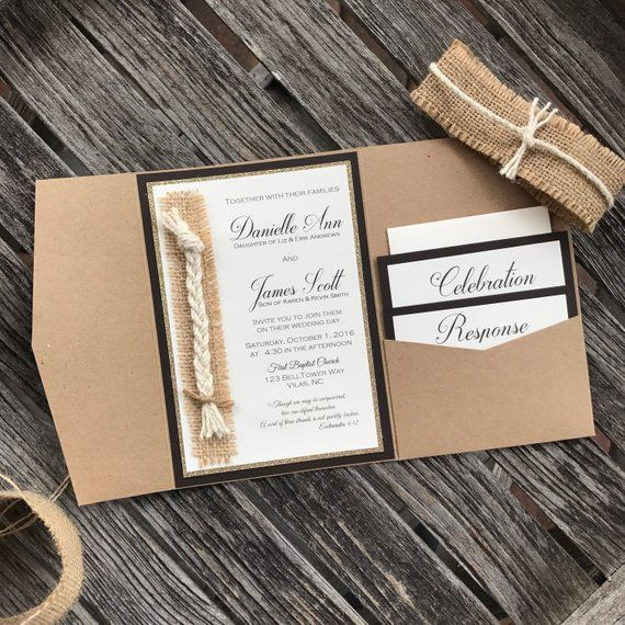 Photo of Cord of three strands Wedding Invitation – Elegant Rustic or…