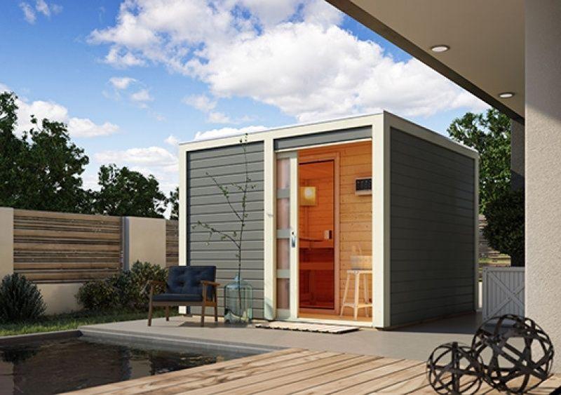 Massivholzsauna Cuben mit Vorraum. #sauna #saunahaus #Cuben #karibu ...