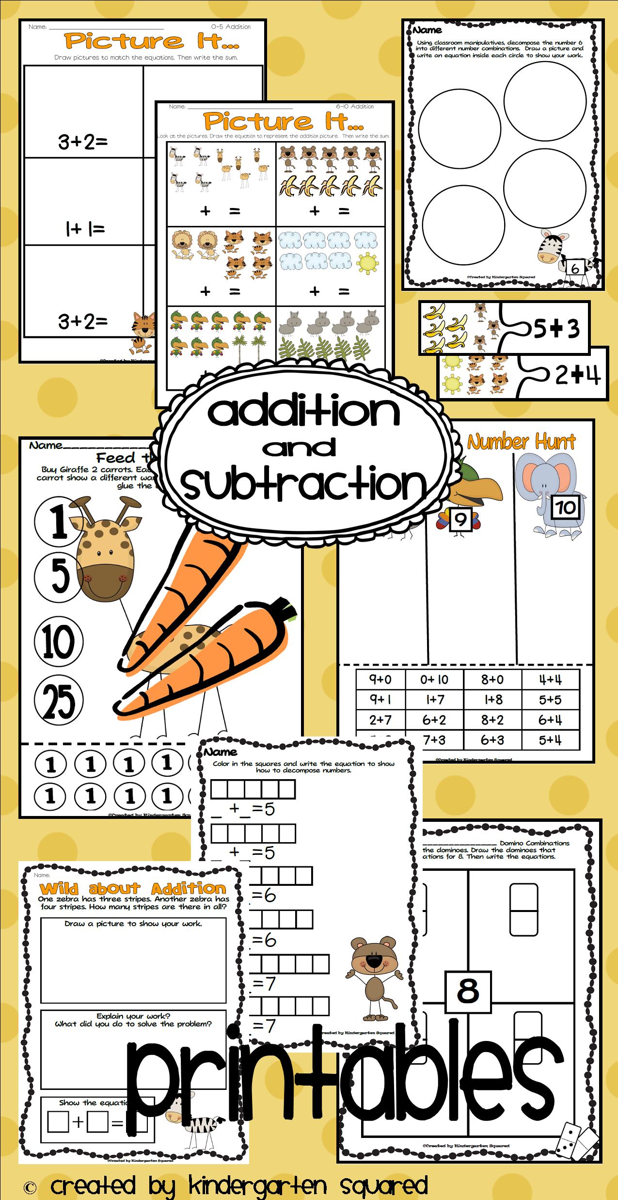 Addition And Subtraction Common Core Kindergarten Math Unit 4