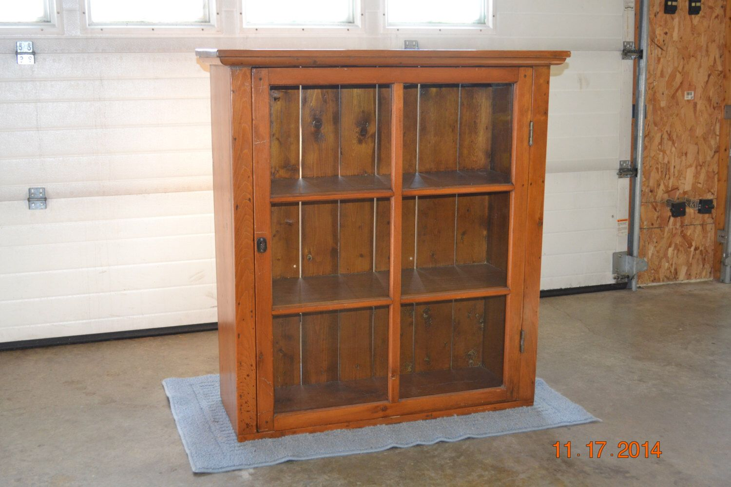 Primitive Antique Pine Cupboard Glass Front Early American Display Cabinet  Very Clean Sharp Antique! by - Primitive Antique Pine Cupboard Glass Front Early American Display
