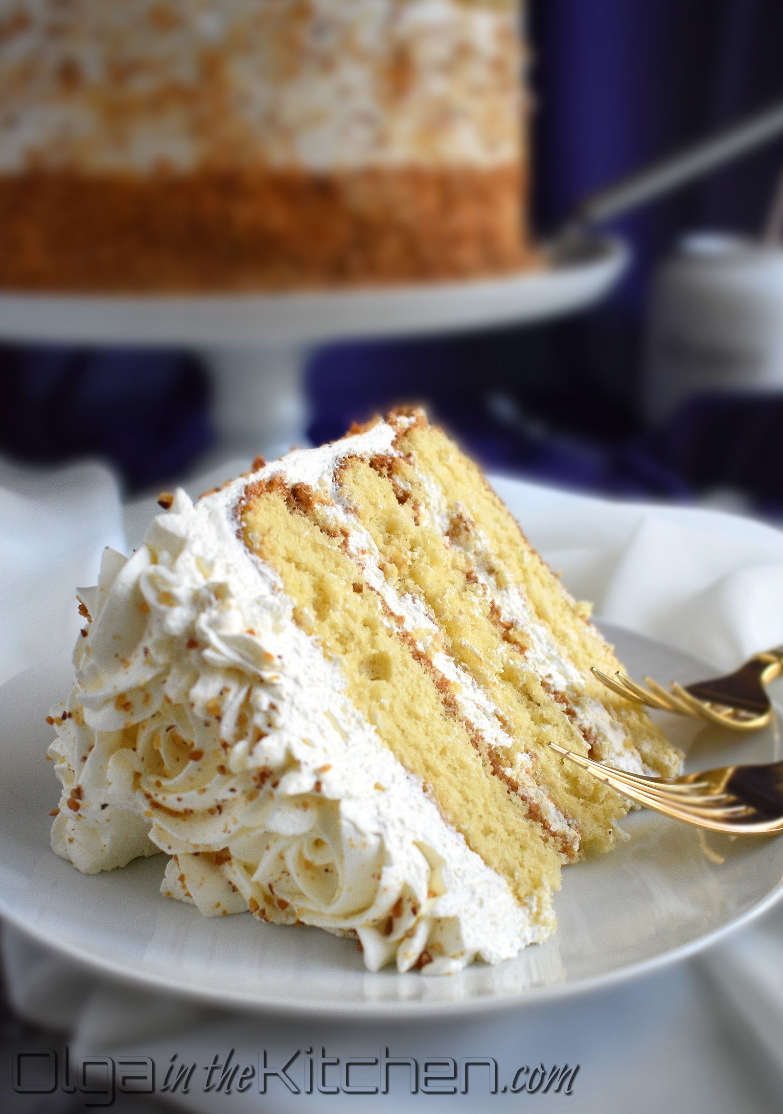 Honey Cake with Sour Cream Frosting - Olga in the Kitchen #honeycake