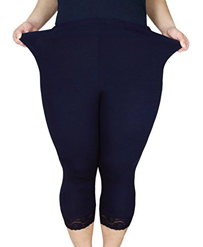 ba2e4ab38d0 Zerdocean Women s Plus Size Modal Capri Leggings Hem Lace Trim Navy 2X -   zerdocean  womens  capri  leggings  plussize