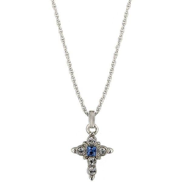 Vatican Necklace, Silver-Tone Crystal Cross Pendant