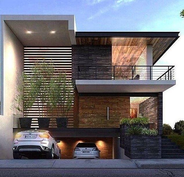 Fachadas de casas con garage en el subsuelo casa for Casas modernas acogedoras