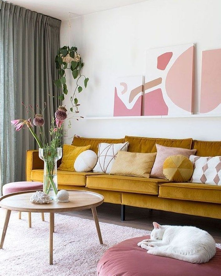 mustard velvet sofa with pink accents in 2020  living
