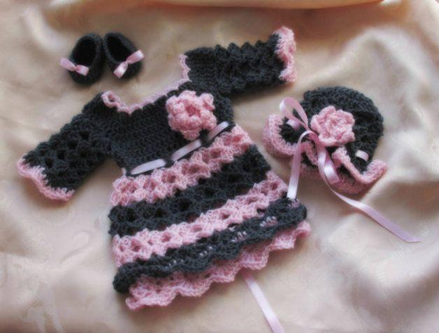 Baby-Kleid Hut Schuhe dunklen Grau rosa | Dunkel, Hüte und Rosa