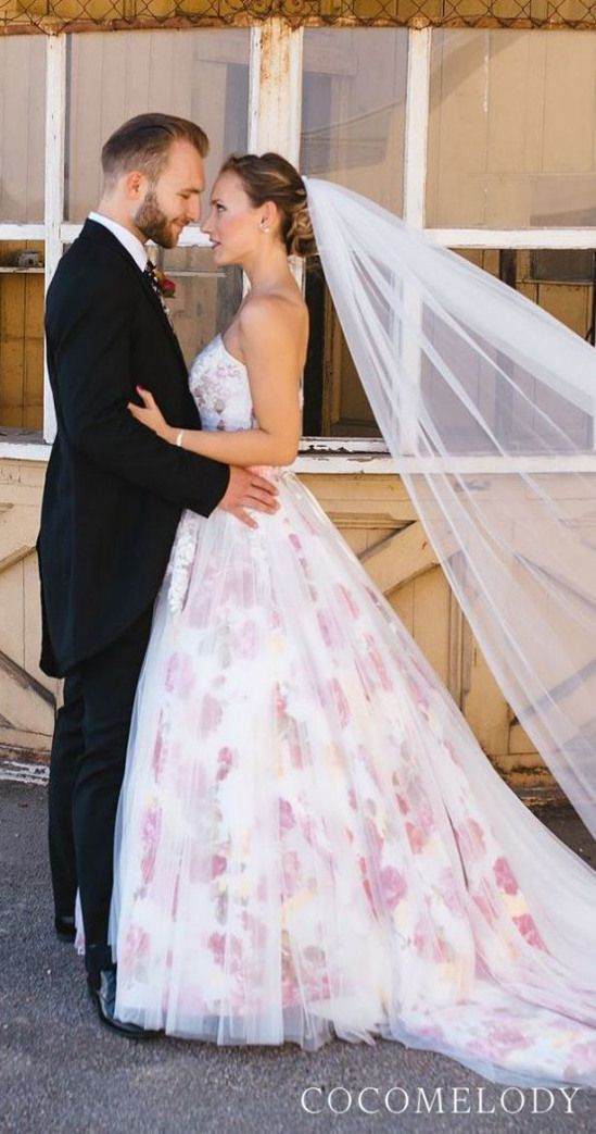 Floral wedding dress by CocoMelody - JUX015001 @gloriacosima Lukas Bezila Photography | Ball gown strapless colored wedding dress with veil | Bride and groom picture #weddingdress #weddingdresses #bridalgown #bridal #bridalgowns #weddinggown #bridetobe #weddings #bride #dreamdress #bridalcollection #bridaldress #dress See more gorgeous wedding dresses by clicking on the photo #laceweddingdress #lace #wedding #dress #with #veil #colored wedding dresses with veil