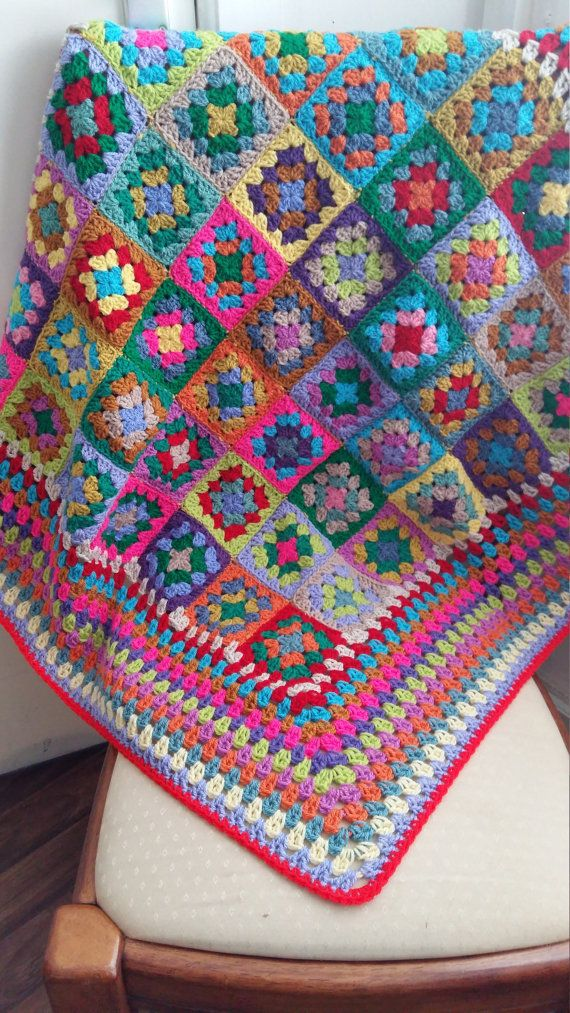 Ready to Ship 50% OFF Granny Squares Retro Blanket Vintage Style ...