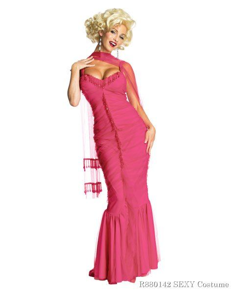 Womens Marilyn Monroe Pink Dress Sexy Costume 25f5ec779b