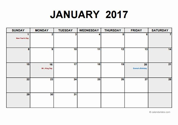 Monthly Calendar 2017 Template Awesome 2017 Monthly Calendar Pdf
