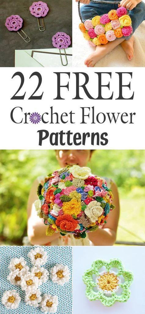 22 Free Crochet Flower Patterns Crocheting Knitting Pinterest