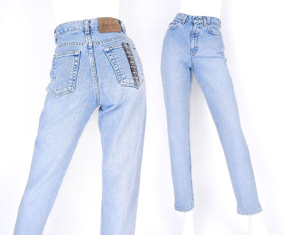 90s CK High Waisted Mom Jeans - Size 4 - Women's Calvin Klein Slim Fit Tapered Sandblasted Blue Jeans - 26 Waist