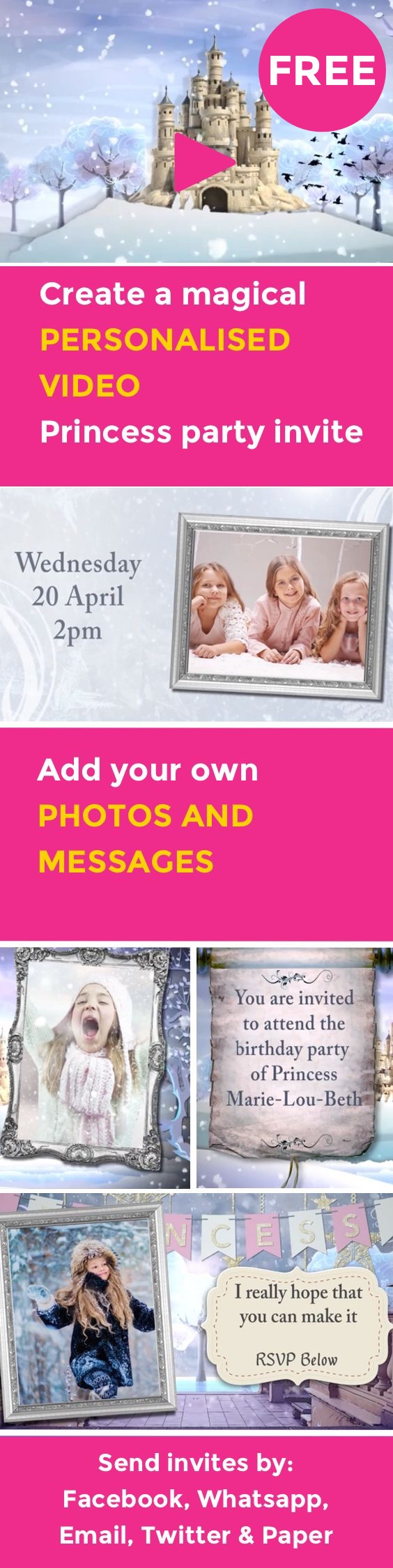 Create A Magical FREE Video Party Invitation For Your Princess Send By Facebook Whatsapp SMS Email Or Paper