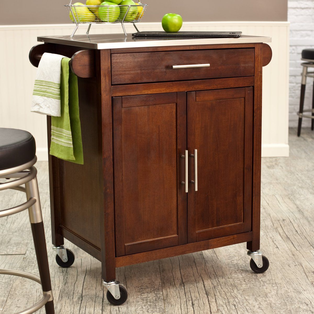 Pantry Storage Designs Portable Kitchen Island: Espresso Mid-Size Kitchen Island With Stainless Steel Top