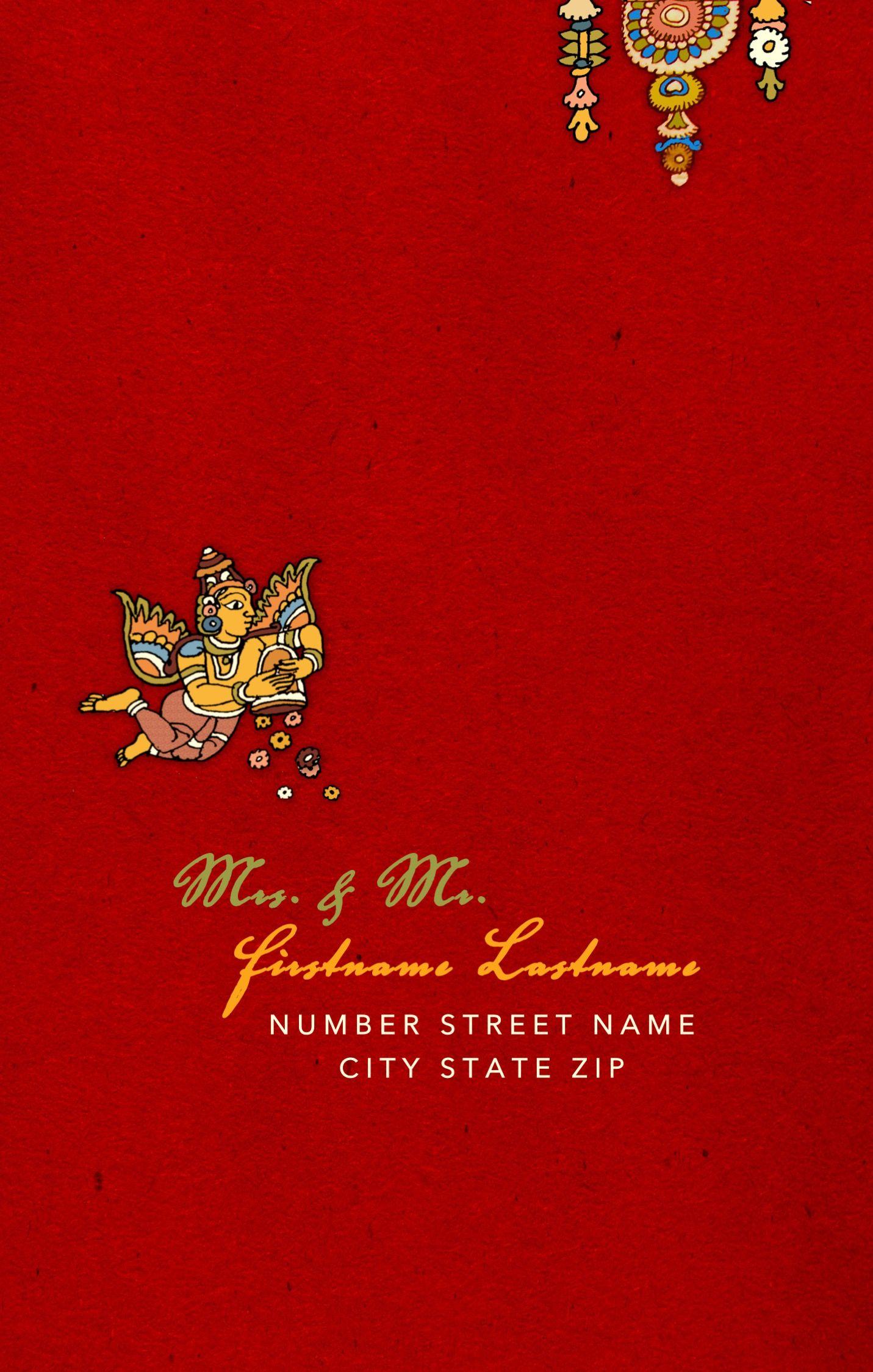South Indian Kalamkari Inspired Wedding Card Envelope Front