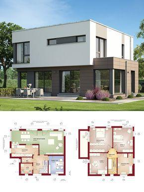 Bauhaus Stadtvilla Modern Mit Flachdach Architektur   Haus Bauen Grundriss  Einfamilienhaus Evolution 143 V10 Bien Zenker