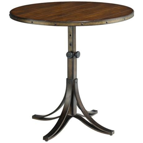 Adjule Height Wood Top End Table