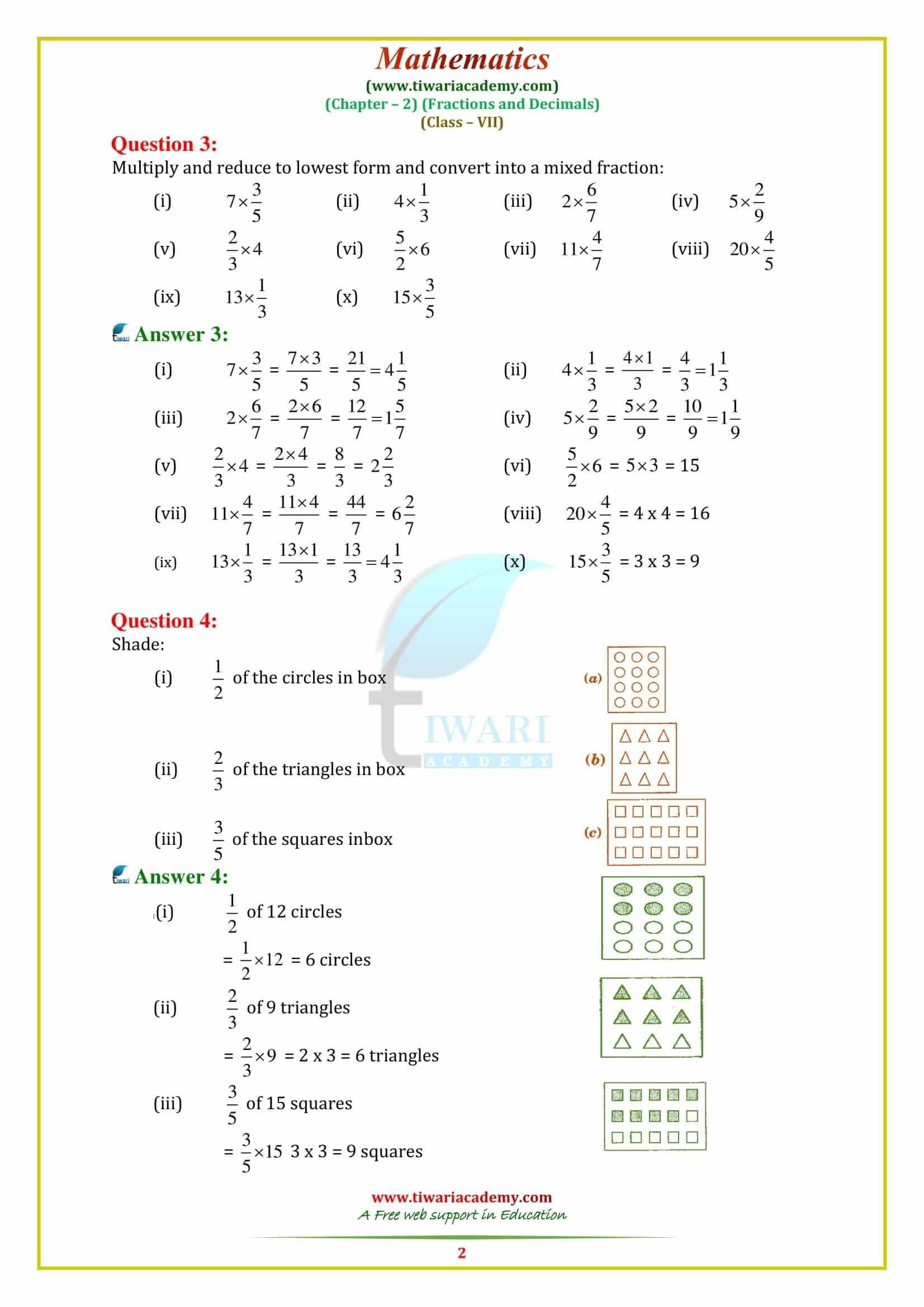 hight resolution of CBSE NCERT Solutions for class 7 Maths Chapter 2   Math fractions
