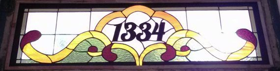 Stained Glass Transom with address marker / by TerrazaStainedGlass, $360.00
