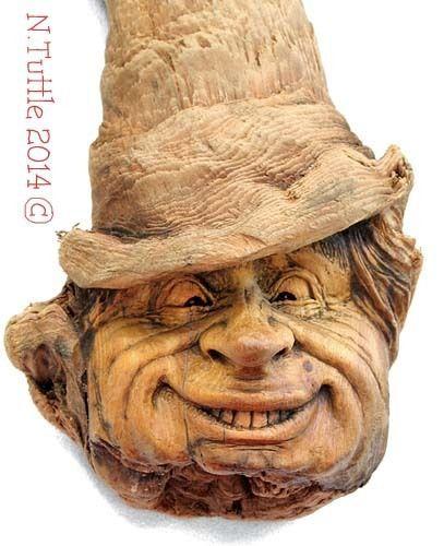 Original Wood Spirit Carving Wizard Hobbit Snicker Face